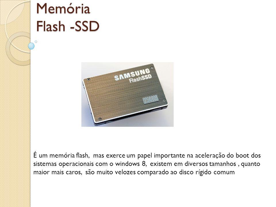 Memória Flash -SSD É um memória flash, mas exerce um papel importante na aceleração do boot dos sistemas operacionais com o windows 8, existem em dive