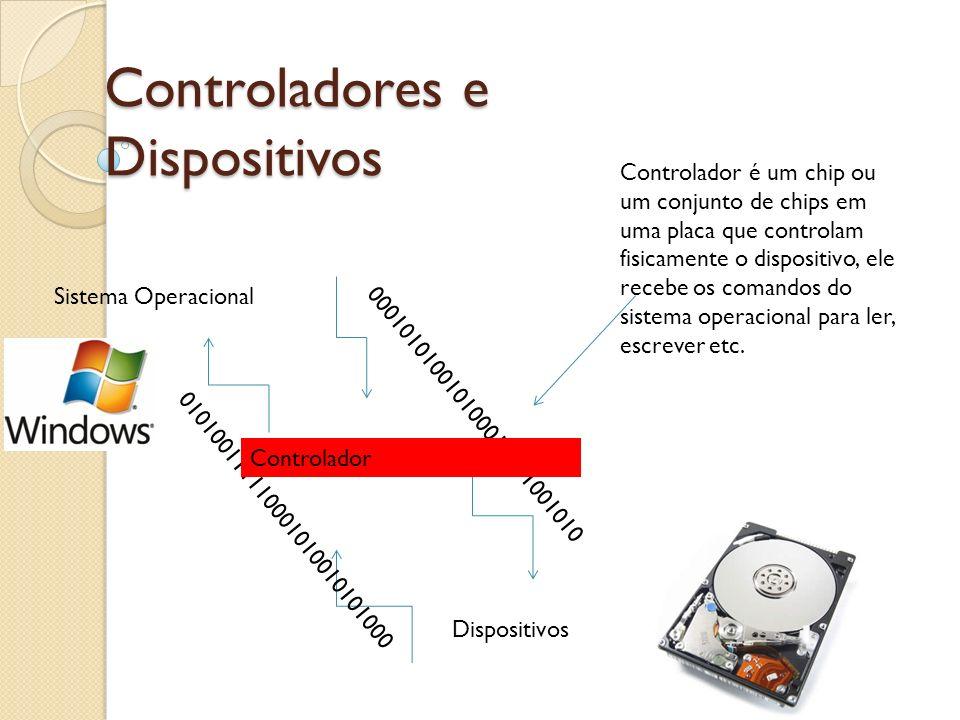 000101010010100011111001010 Controladores e Dispositivos Sistema Operacional Dispositivos Controlador é um chip ou um conjunto de chips em uma placa q