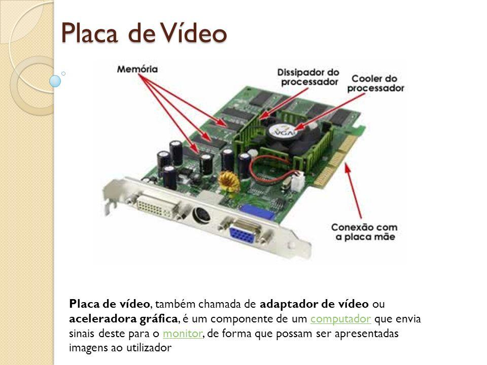 Placa de Vídeo Placa de vídeo, também chamada de adaptador de vídeo ou aceleradora gráfica, é um componente de um computador que envia sinais deste pa