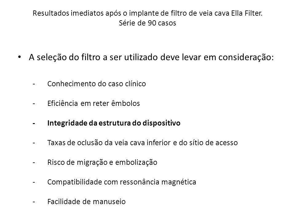 Resultados imediatos após o implante de filtro de veia cava Ella Filter. Série de 90 casos A seleção do filtro a ser utilizado deve levar em considera