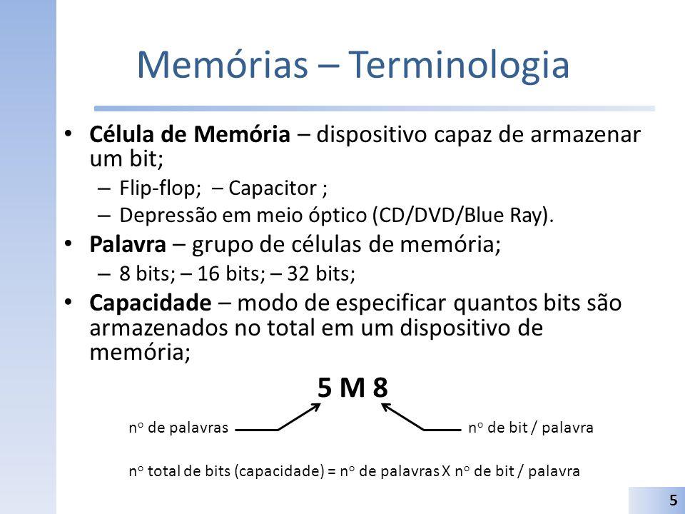 Memórias – Terminologia Célula de Memória – dispositivo capaz de armazenar um bit; – Flip-flop; – Capacitor ; – Depressão em meio óptico (CD/DVD/Blue