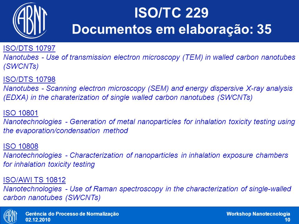 Gerência do Processo de Normalização 02.12.2010 Workshop Nanotecnologia 10 ISO/DTS 10797 Nanotubes - Use of transmission electron microscopy (TEM) in