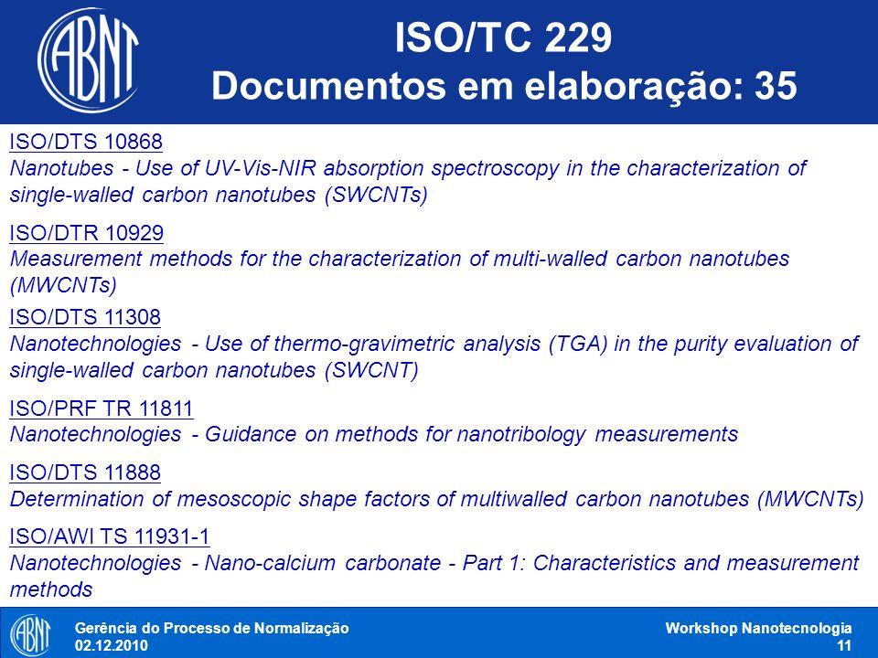 Gerência do Processo de Normalização 02.12.2010 Workshop Nanotecnologia 11 ISO/DTS 10868 Nanotubes - Use of UV-Vis-NIR absorption spectroscopy in the