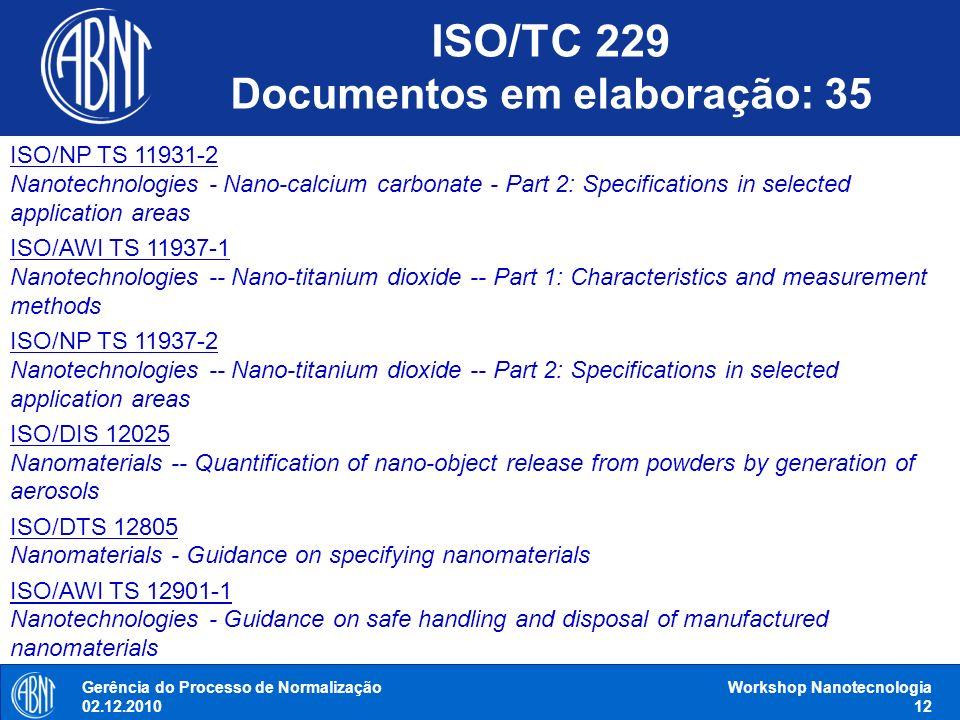 Gerência do Processo de Normalização 02.12.2010 Workshop Nanotecnologia 12 ISO/NP TS 11931-2 Nanotechnologies - Nano-calcium carbonate - Part 2: Speci