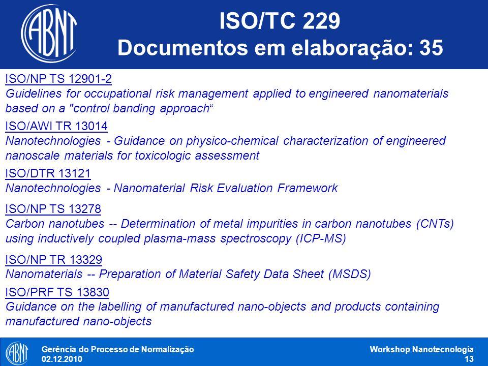 Gerência do Processo de Normalização 02.12.2010 Workshop Nanotecnologia 13 ISO/NP TS 12901-2 Guidelines for occupational risk management applied to en