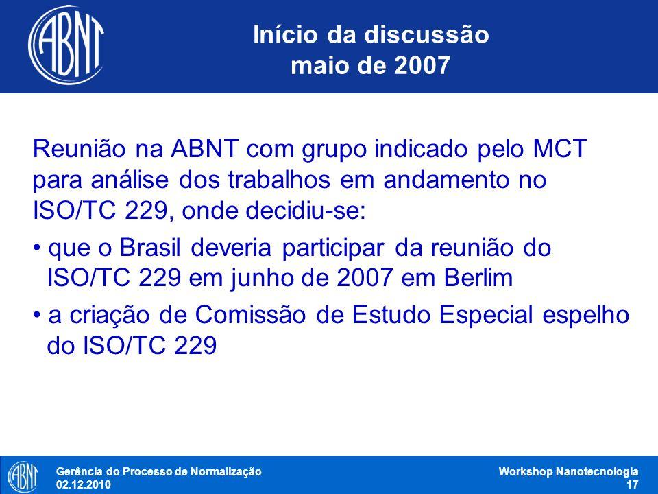 Início da discussão maio de 2007 Reunião na ABNT com grupo indicado pelo MCT para análise dos trabalhos em andamento no ISO/TC 229, onde decidiu-se: q