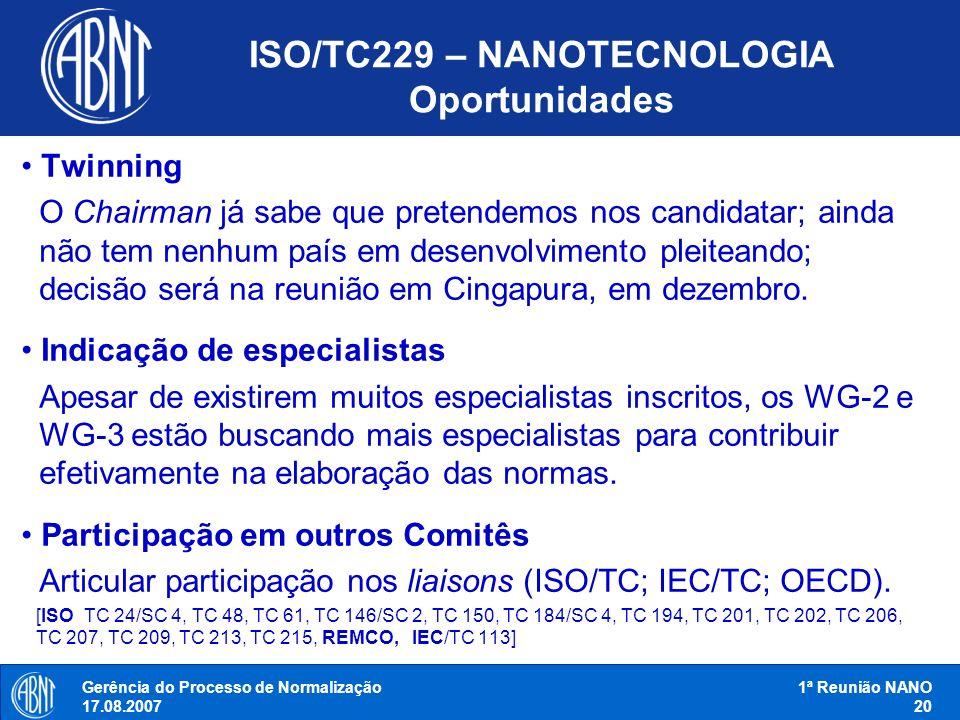 Gerência do Processo de Normalização 17.08.2007 1ª Reunião NANO 20 ISO/TC229 – NANOTECNOLOGIA Oportunidades Twinning O Chairman já sabe que pretendemo