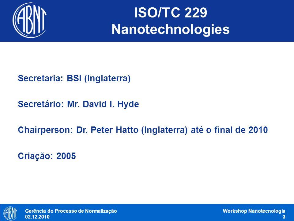Secretaria: BSI (Inglaterra) Secretário: Mr. David I. Hyde Chairperson: Dr. Peter Hatto (Inglaterra) até o final de 2010 Criação: 2005 ISO/TC 229 Nano