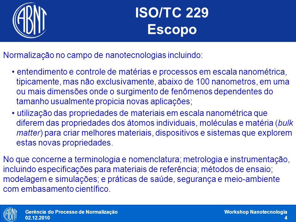 ISO/TC 229 Escopo Gerência do Processo de Normalização 02.12.2010 Workshop Nanotecnologia 4 Normalização no campo de nanotecnologias incluindo: entend