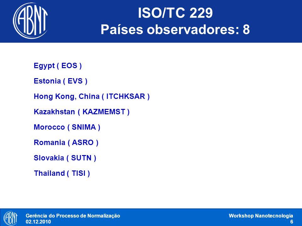 ISO/TC 229 Países observadores: 8 Gerência do Processo de Normalização 02.12.2010 Workshop Nanotecnologia 6 Egypt ( EOS ) Estonia ( EVS ) Hong Kong, C
