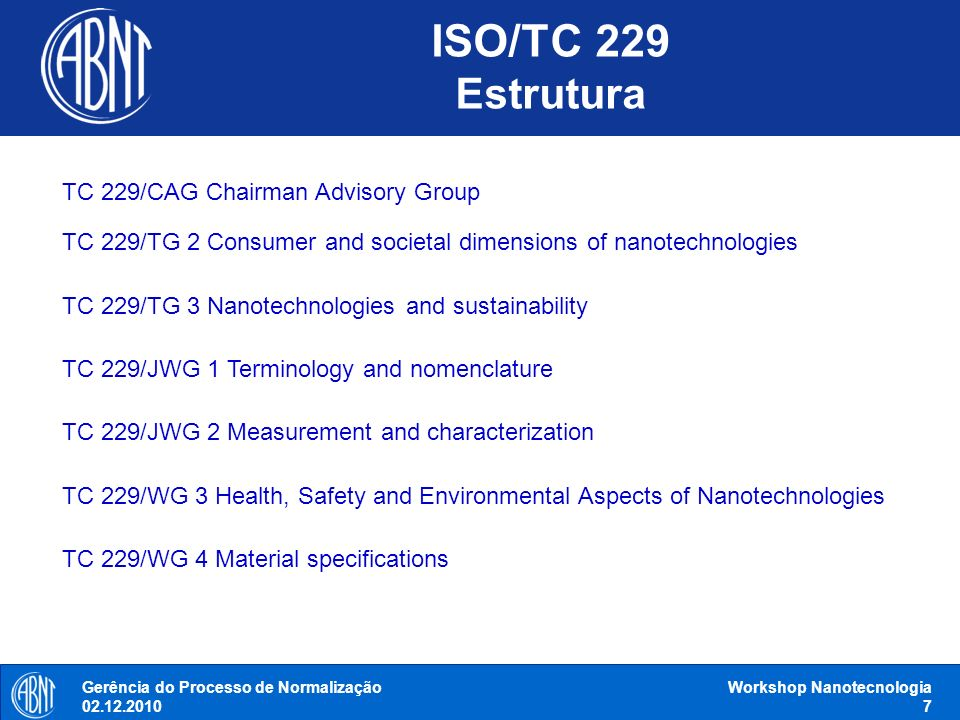 Workshop Nanotecnologia 8 ISO/TS 10867:2010 Nanotechnologies - Characterization of single-wall carbon nanotubes using near infrared photoluminescence spectroscopy ISO/TS 11251:2010 Nanotechnologies - Characterization of volatile components in single-wall carbon nanotube samples using evolved gas analysis/gas chromatograph-mass spectrometry ISO/TR 11360:2010 Nanotechnologies - Methodology for the classification and categorization of nanomaterials ISO/TR 12802:2010 Nanotechnologies - Model taxonomic framework for use in developing vocabularies - Core concepts ISO/TC 229 Documentos publicados: 9 Gerência do Processo de Normalização 02.12.2010