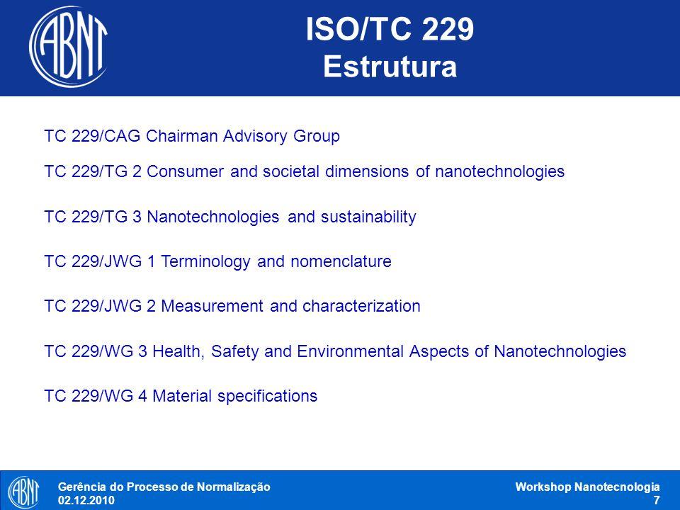 Gerência do Processo de Normalização 02.12.2010 Workshop Nanotecnologia 7 TC 229/CAG Chairman Advisory Group TC 229/TG 2 Consumer and societal dimensi