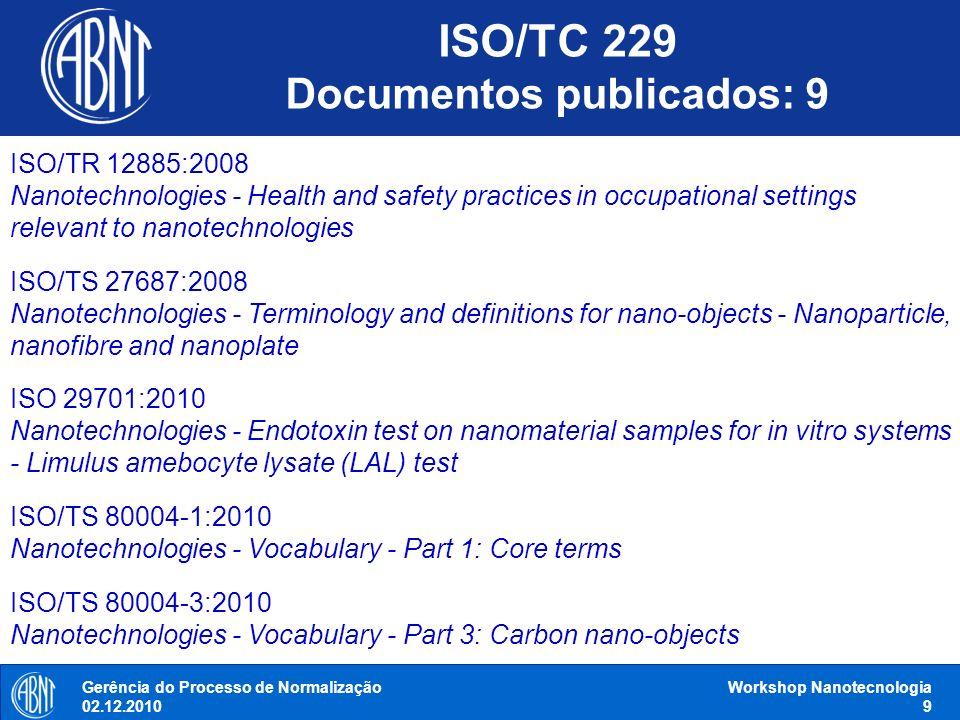 Gerência do Processo de Normalização 02.12.2010 Workshop Nanotecnologia 9 ISO/TR 12885:2008 Nanotechnologies - Health and safety practices in occupati