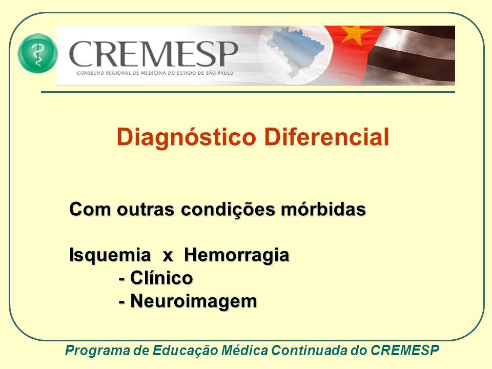 Programa de Educação Médica Continuada do CREMESP Diagnóstico Diferencial Com outras condições mórbidas Isquemia x Hemorragia - Clínico - Neuroimagem