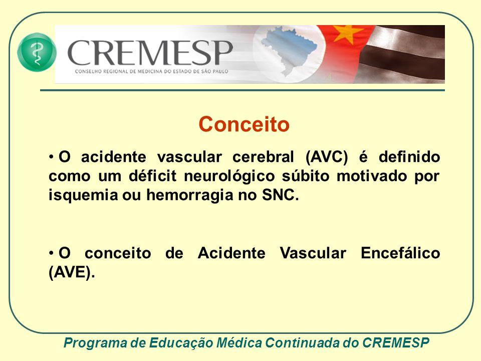 Programa de Educação Médica Continuada do CREMESP Epidemiologia Primeira causa de morte no Brasil; Terceira causa de morte nos países ocidentais; Primeira causa de incapacidade em adultos; 6 milhões de mortes ao ano por AVC, segundo a OMS.