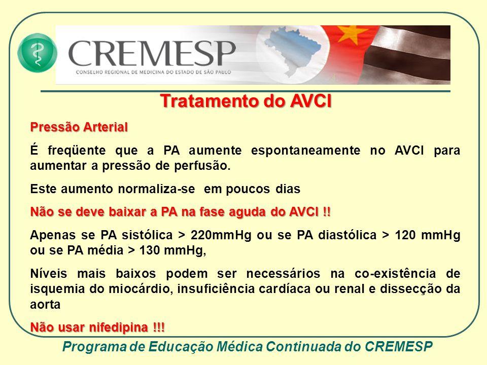 Programa de Educação Médica Continuada do CREMESP Tratamento do AVCI Pressão Arterial É freqüente que a PA aumente espontaneamente no AVCI para aument