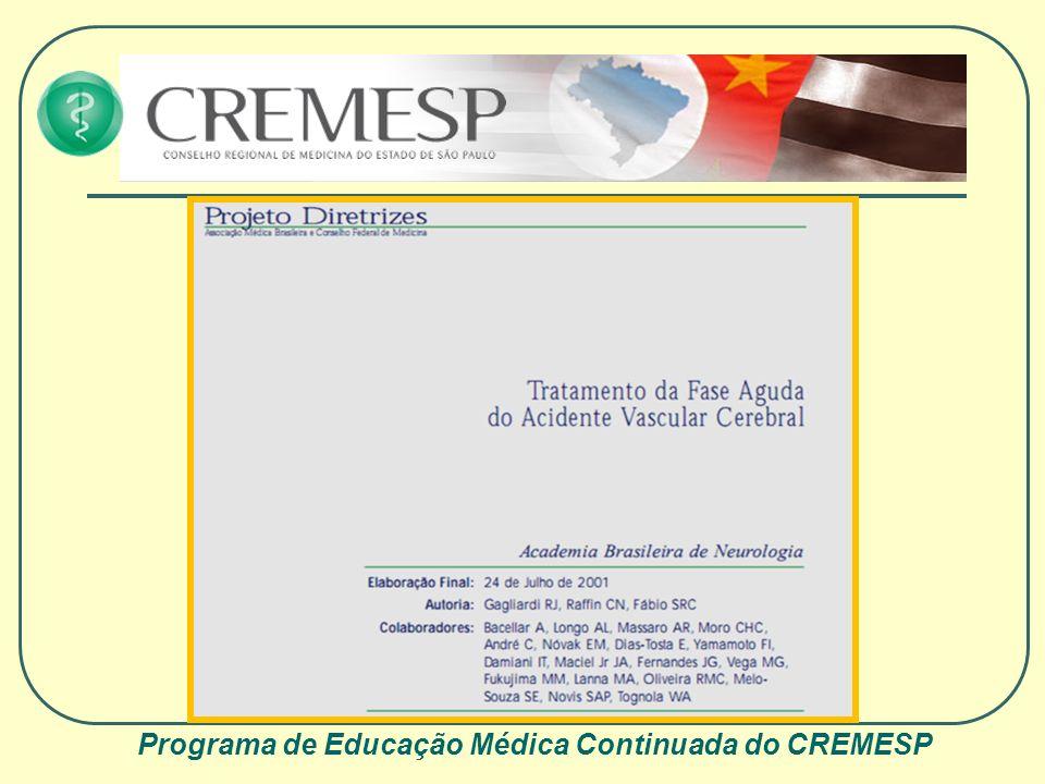 Programa de Educação Médica Continuada do CREMESP Tratamento do AVCI O melhor tratamento para o AVC I é sua prevenção !!!!!!!!