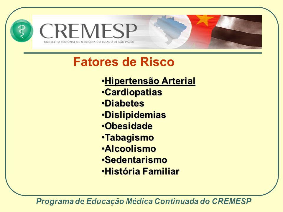Programa de Educação Médica Continuada do CREMESP Tipos etiopatogênicos Isquêmicos Trombóticos Aterosclerose Vasculites Embólicos Cardiogênicos Artérias proximais (aterosclerose) Hemorrágicos Hemorragias intraparenquimatosas espontâneas Hipertensivas Hemorragias por malformações vasculares Outras causas (coagulopatias, tumores...) Hemorragias subaracnóideas Continua...