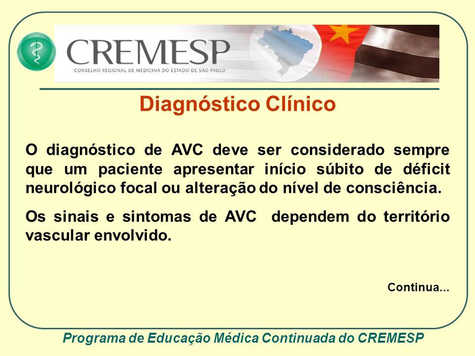 Programa de Educação Médica Continuada do CREMESP Diagnóstico Clínico O AVC que compromete o território carotídeo pode se manifestar com isquemia retiniana e encefálica (com síndromes neurológicas que associam déficit de funções corticais, como afasia, e déficit motor e/ou sensitivo).