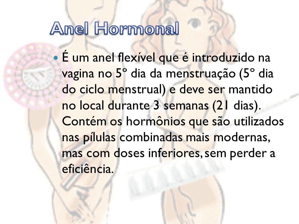 É um anel flexível que é introduzido na vagina no 5º dia da menstruação (5º dia do ciclo menstrual) e deve ser mantido no local durante 3 semanas (21 dias).
