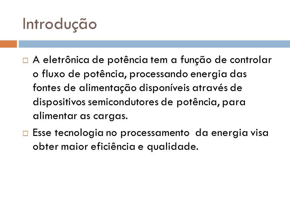 Introdução A eletrônica de potência tem a função de controlar o fluxo de potência, processando energia das fontes de alimentação disponíveis através de dispositivos semicondutores de potência, para alimentar as cargas.