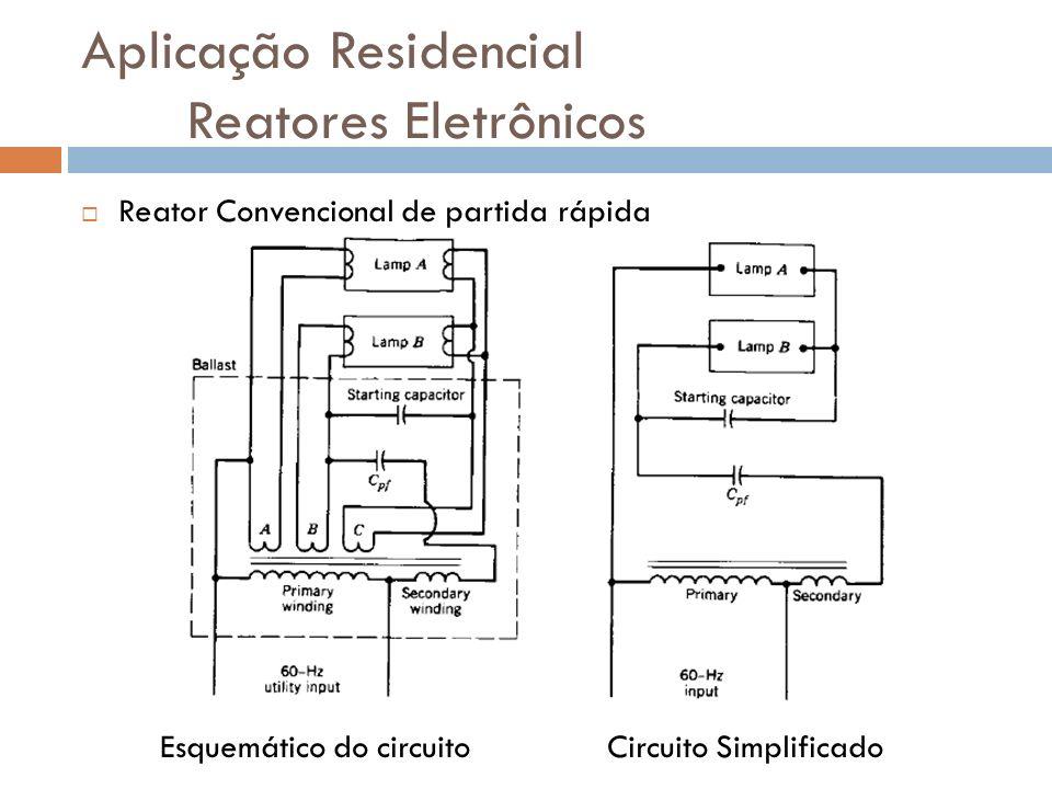 Aplicação Residencial Reatores Eletrônicos Reator Convencional de partida rápida Esquemático do circuito Circuito Simplificado