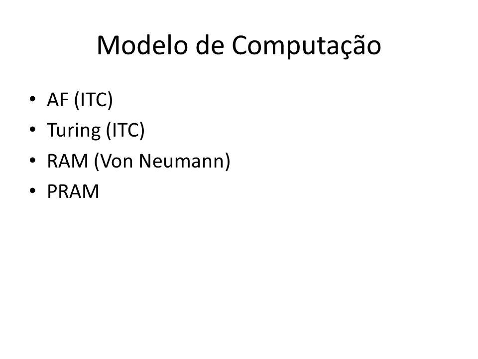 Modelo de Computação AF (ITC) Turing (ITC) RAM (Von Neumann) PRAM