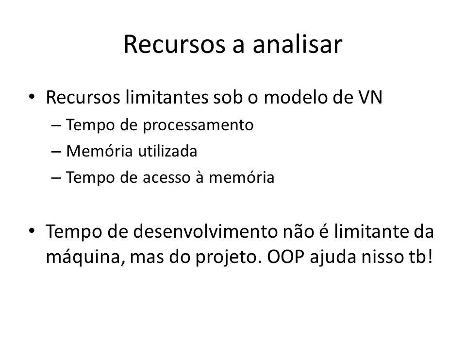 Recursos a analisar Recursos limitantes sob o modelo de VN – Tempo de processamento – Memória utilizada – Tempo de acesso à memória Tempo de desenvolv
