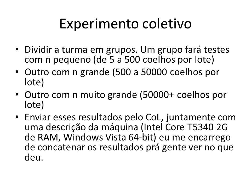 Experimento coletivo Dividir a turma em grupos. Um grupo fará testes com n pequeno (de 5 a 500 coelhos por lote) Outro com n grande (500 a 50000 coelh