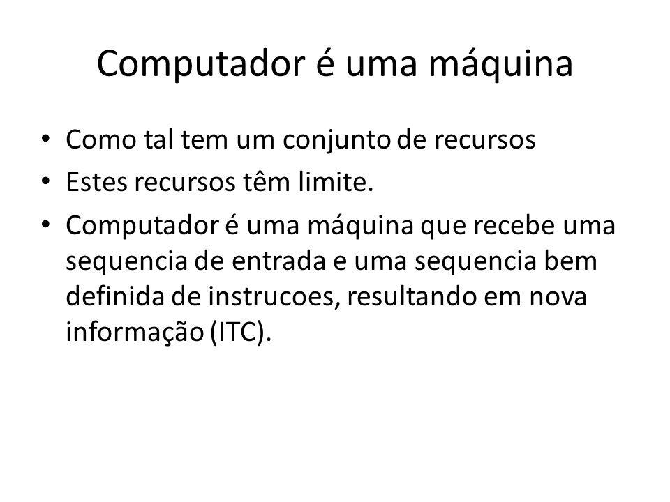 Computador é uma máquina Como tal tem um conjunto de recursos Estes recursos têm limite. Computador é uma máquina que recebe uma sequencia de entrada