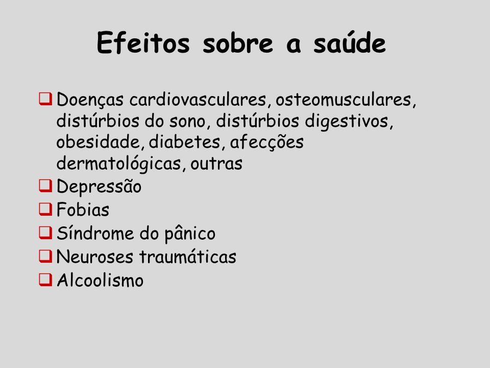 Efeitos sobre a saúde Doenças cardiovasculares, osteomusculares, distúrbios do sono, distúrbios digestivos, obesidade, diabetes, afecções dermatológicas, outras Depressão Fobias Síndrome do pânico Neuroses traumáticas Alcoolismo