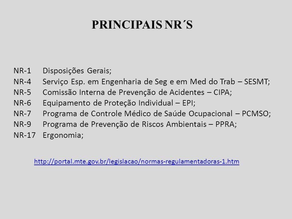 PRINCIPAIS NR´S NR-1 Disposições Gerais; NR-4Serviço Esp.