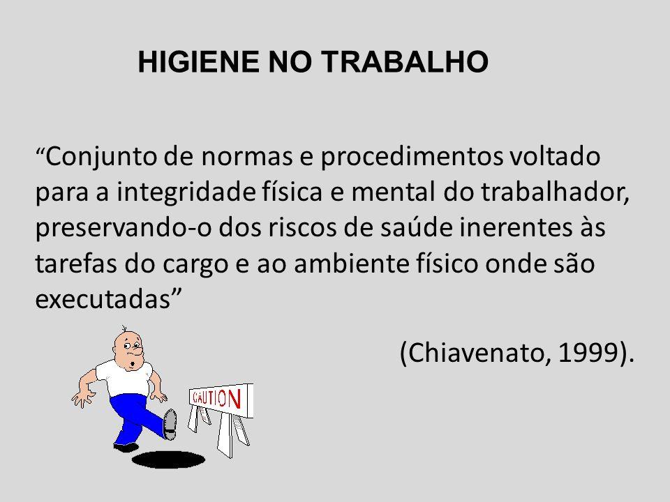 Conjunto de normas e procedimentos voltado para a integridade física e mental do trabalhador, preservando-o dos riscos de saúde inerentes às tarefas do cargo e ao ambiente físico onde são executadas (Chiavenato, 1999).