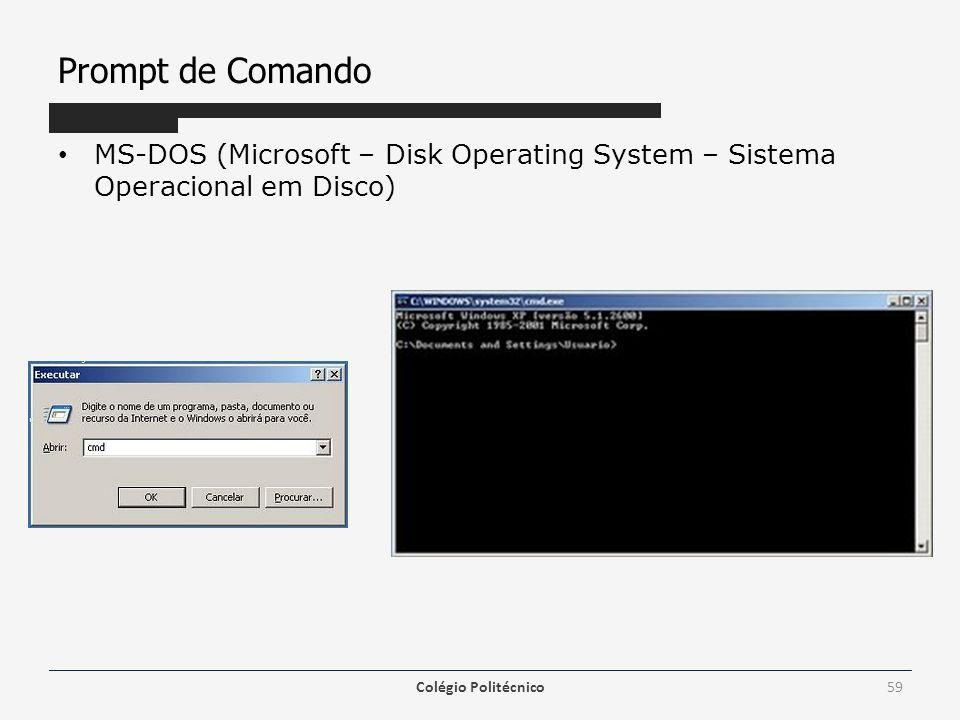 Prompt de Comando MS-DOS (Microsoft – Disk Operating System – Sistema Operacional em Disco) Colégio Politécnico59