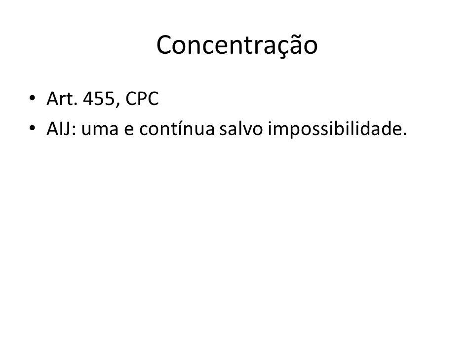 Concentração Art. 455, CPC AIJ: uma e contínua salvo impossibilidade.