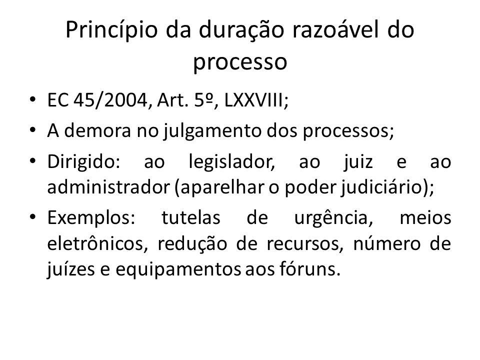 Princípio da duração razoável do processo EC 45/2004, Art.