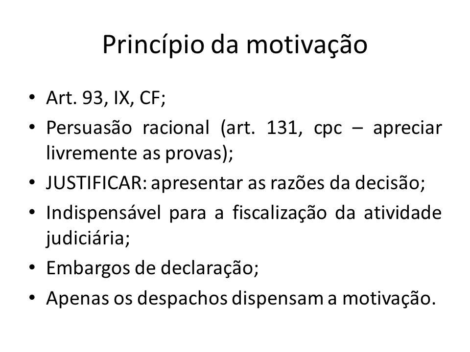 Princípio da motivação Art.93, IX, CF; Persuasão racional (art.