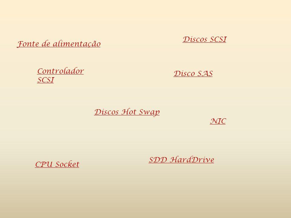 Fonte de alimentação Discos Hot Swap Discos SCSI Disco SAS CPU Socket SDD HardDrive NIC Controlador SCSI