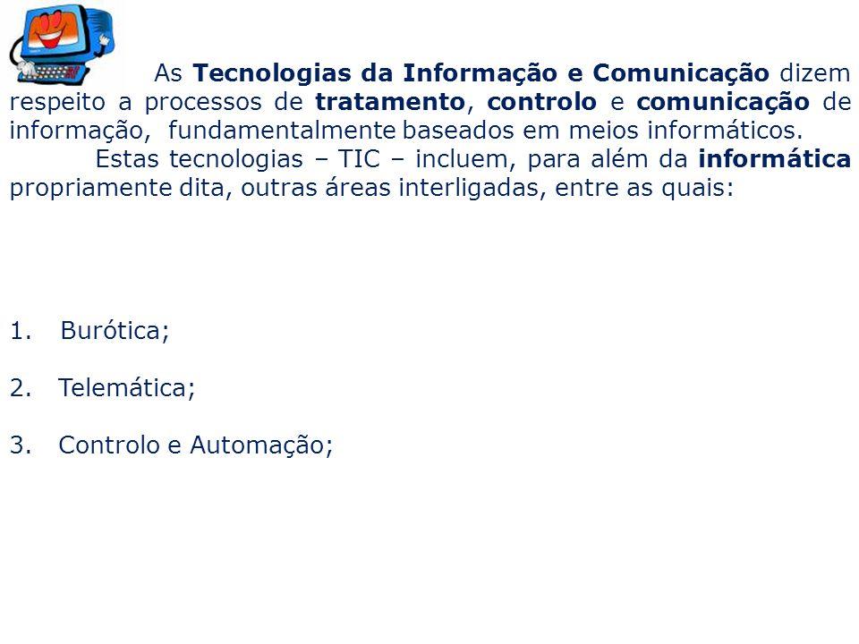 As Tecnologias da Informação e Comunicação dizem respeito a processos de tratamento, controlo e comunicação de informação, fundamentalmente baseados e