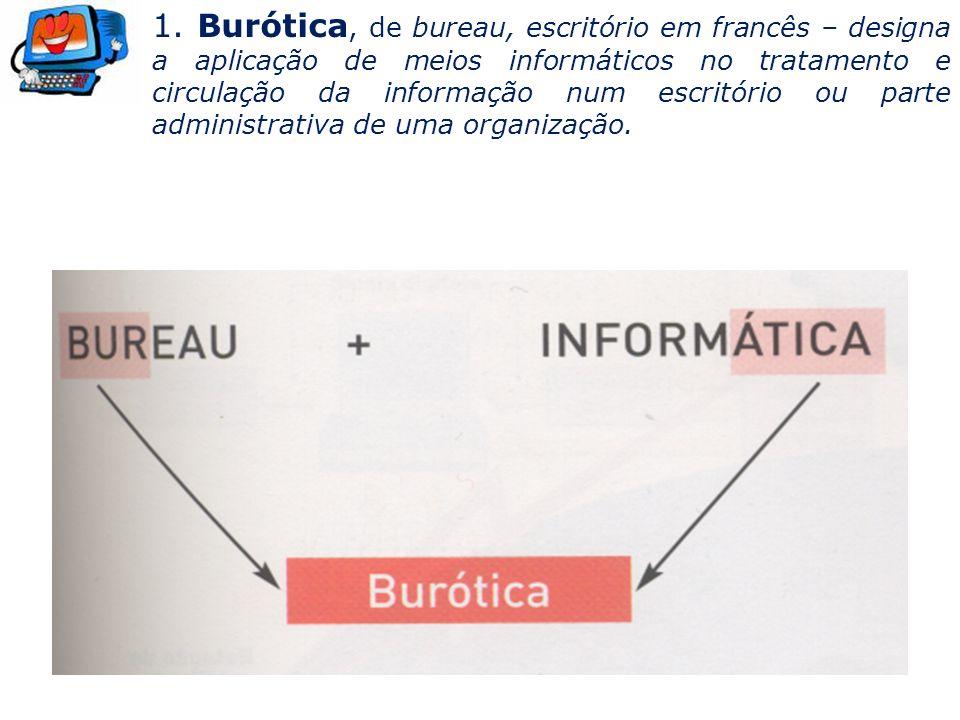 1. Burótica, de bureau, escritório em francês – designa a aplicação de meios informáticos no tratamento e circulação da informação num escritório ou p