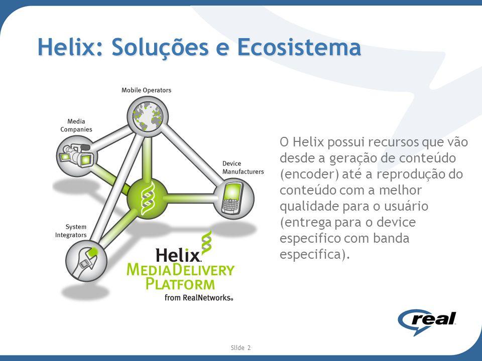 Slide 2 Helix: Soluções e Ecosistema O Helix possui recursos que vão desde a geração de conteúdo (encoder) até a reprodução do conteúdo com a melhor q