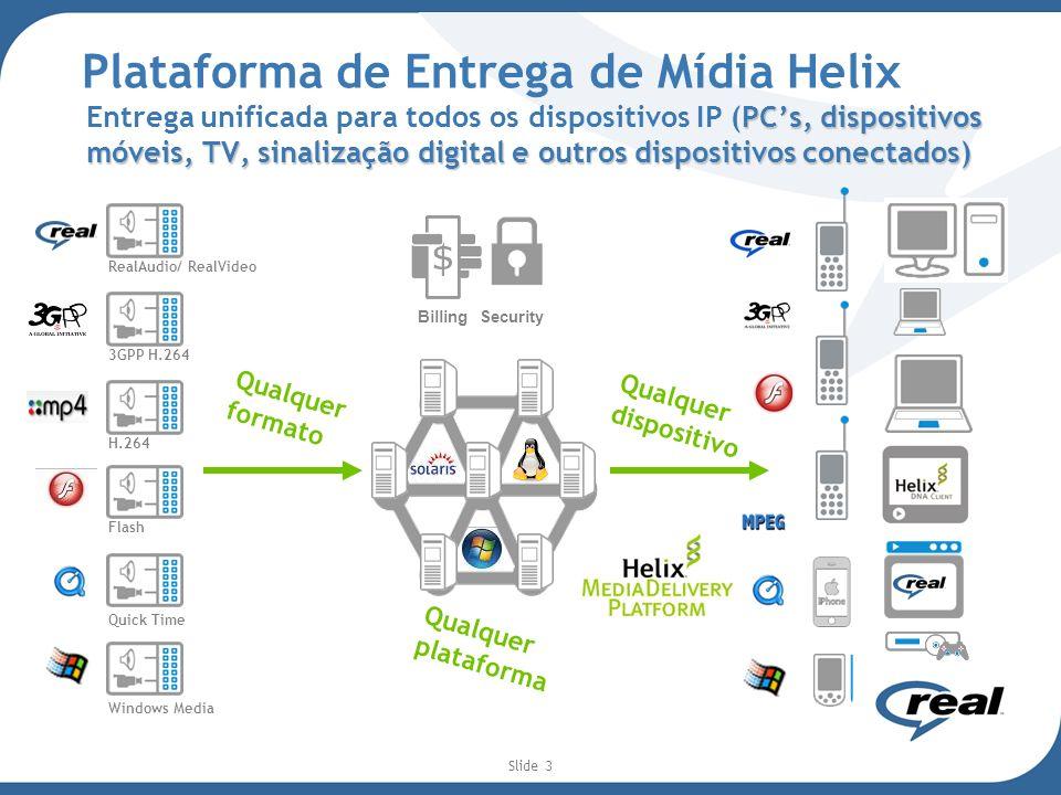 Slide 4 Helix: Solução fim-a-fim Entrega escalável e confiável através de redes distribuídas Splitting e cache de conteúdo Redundância Tolerância a falhas Arquitetura Multi-tier Autenticação Entrega em qualquer dispositivo