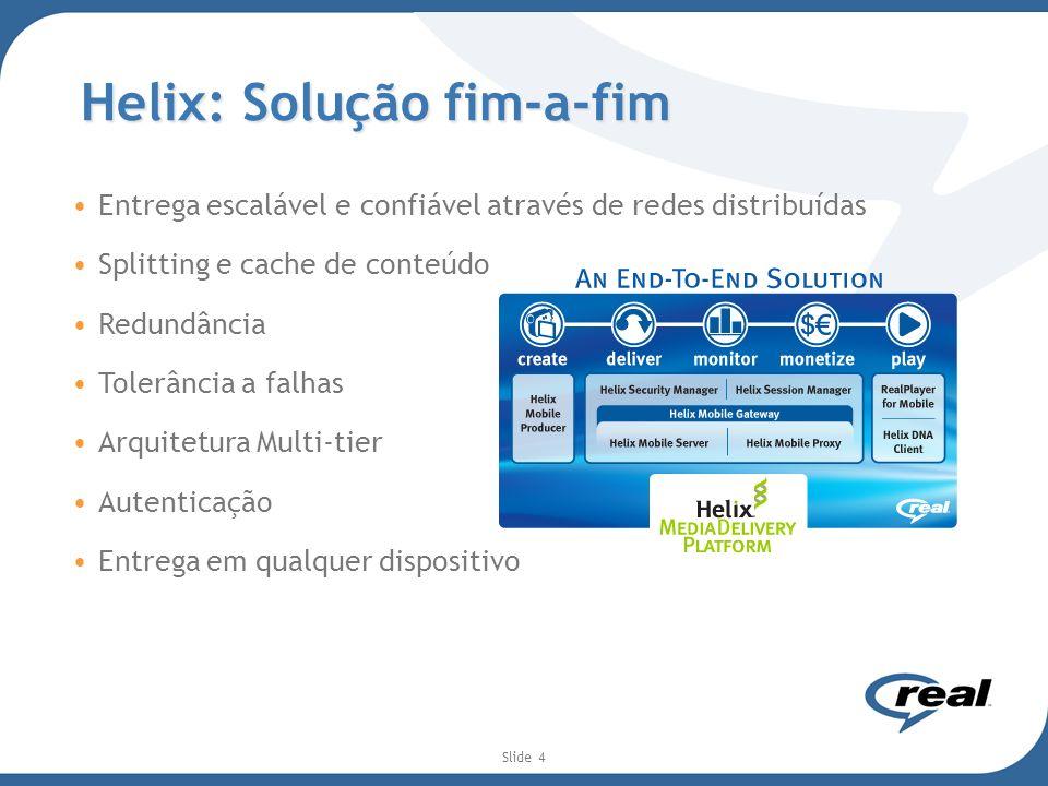 Slide 4 Helix: Solução fim-a-fim Entrega escalável e confiável através de redes distribuídas Splitting e cache de conteúdo Redundância Tolerância a fa