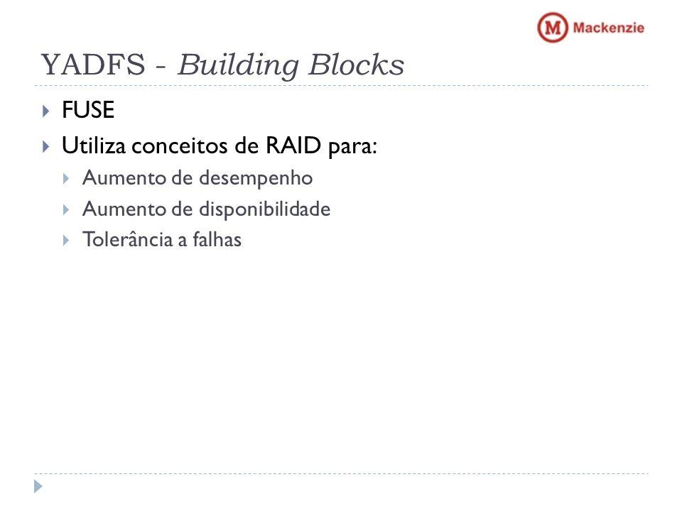 YADFS - Building Blocks FUSE Utiliza conceitos de RAID para: Aumento de desempenho Aumento de disponibilidade Tolerância a falhas