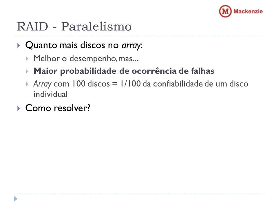 RAID - Paralelismo Quanto mais discos no array: Melhor o desempenho, mas... Maior probabilidade de ocorrência de falhas Array com 100 discos = 1/100 d