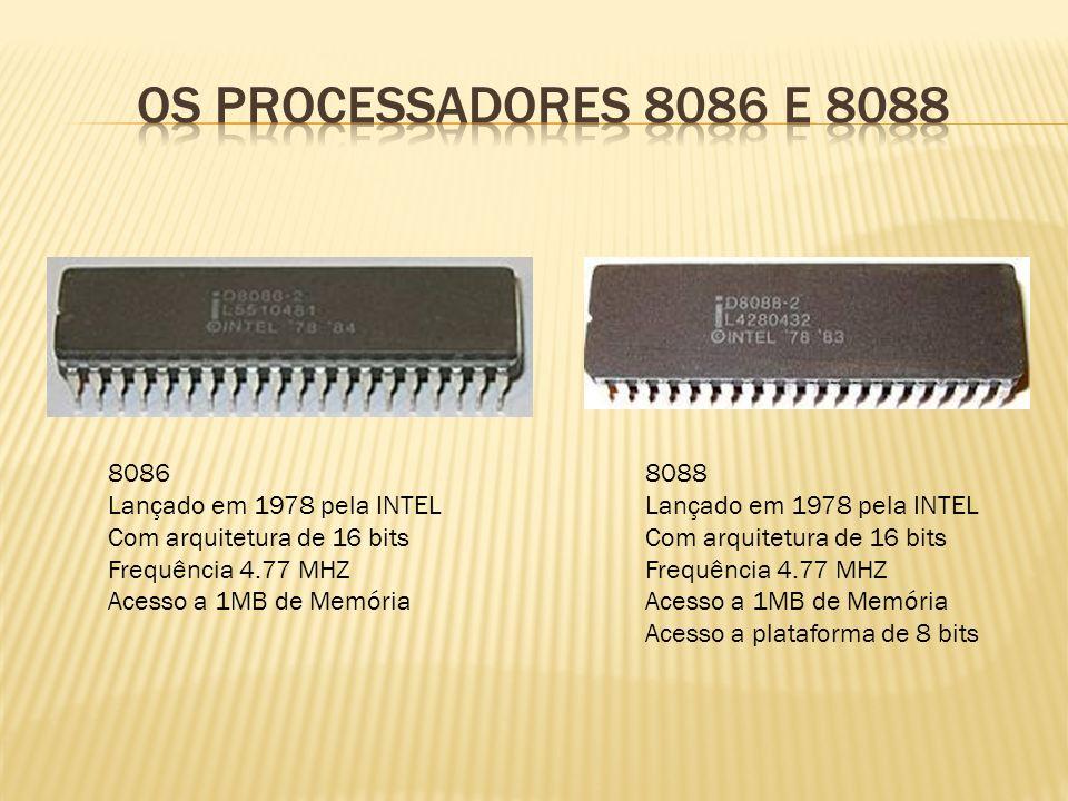 Apple I Lançado em 1972 Processador MOS 6502 Frequência 1MHZ Memória RAM de 8 KB Conector de Unidade de Fita K7 Vantagem: Podia ser ligado diretamente à uma TV Valor: S$ 666,00