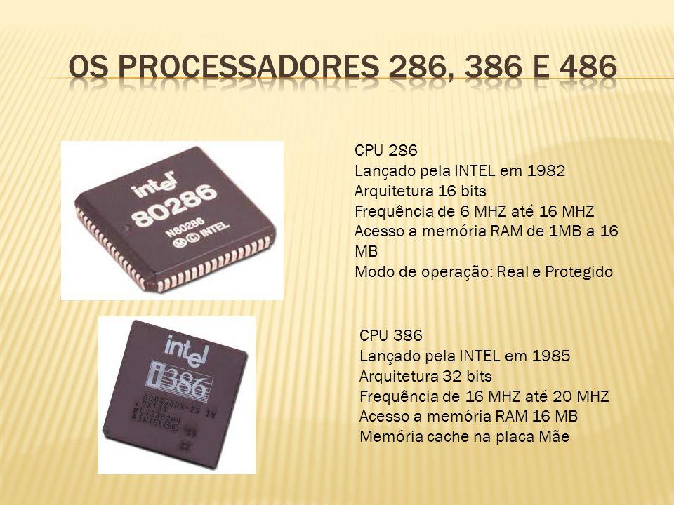 CPU 286 Lançado pela INTEL em 1982 Arquitetura 16 bits Frequência de 6 MHZ até 16 MHZ Acesso a memória RAM de 1MB a 16 MB Modo de operação: Real e Pro