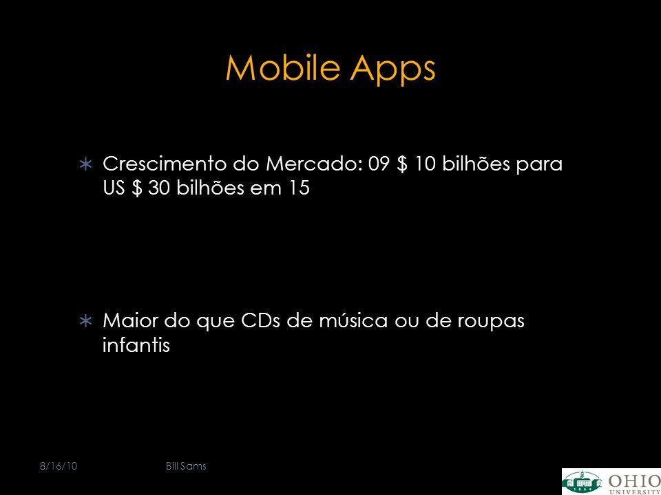 Mobile Apps Crescimento do Mercado: 09 $ 10 bilhões para US $ 30 bilhões em 15 Maior do que CDs de música ou de roupas infantis 8/16/10Bill Sams