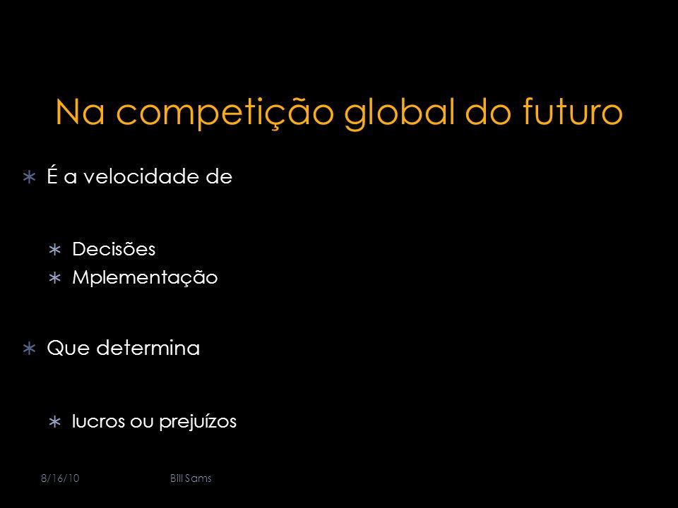 Na competição global do futuro É a velocidade de Decisões Mplementação Que determina lucros ou prejuízos 8/16/10Bill Sams