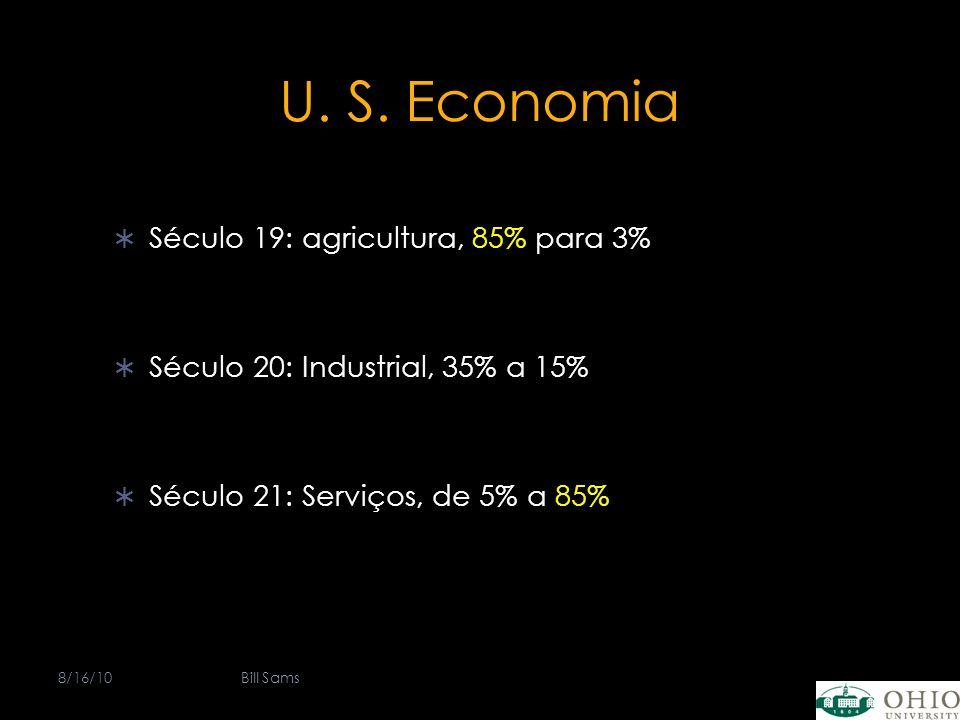 U. S. Economia Século 19: agricultura, 85% para 3% Século 20: Industrial, 35% a 15% Século 21: Serviços, de 5% a 85% 8/16/10Bill Sams